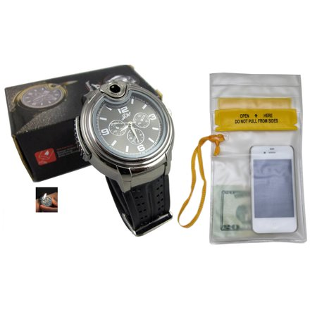 Novelty Real Watch With Collectable Butane Cigarette Cigar Lighter with Waterproof Pouch (Novelty Cigar Lighter)
