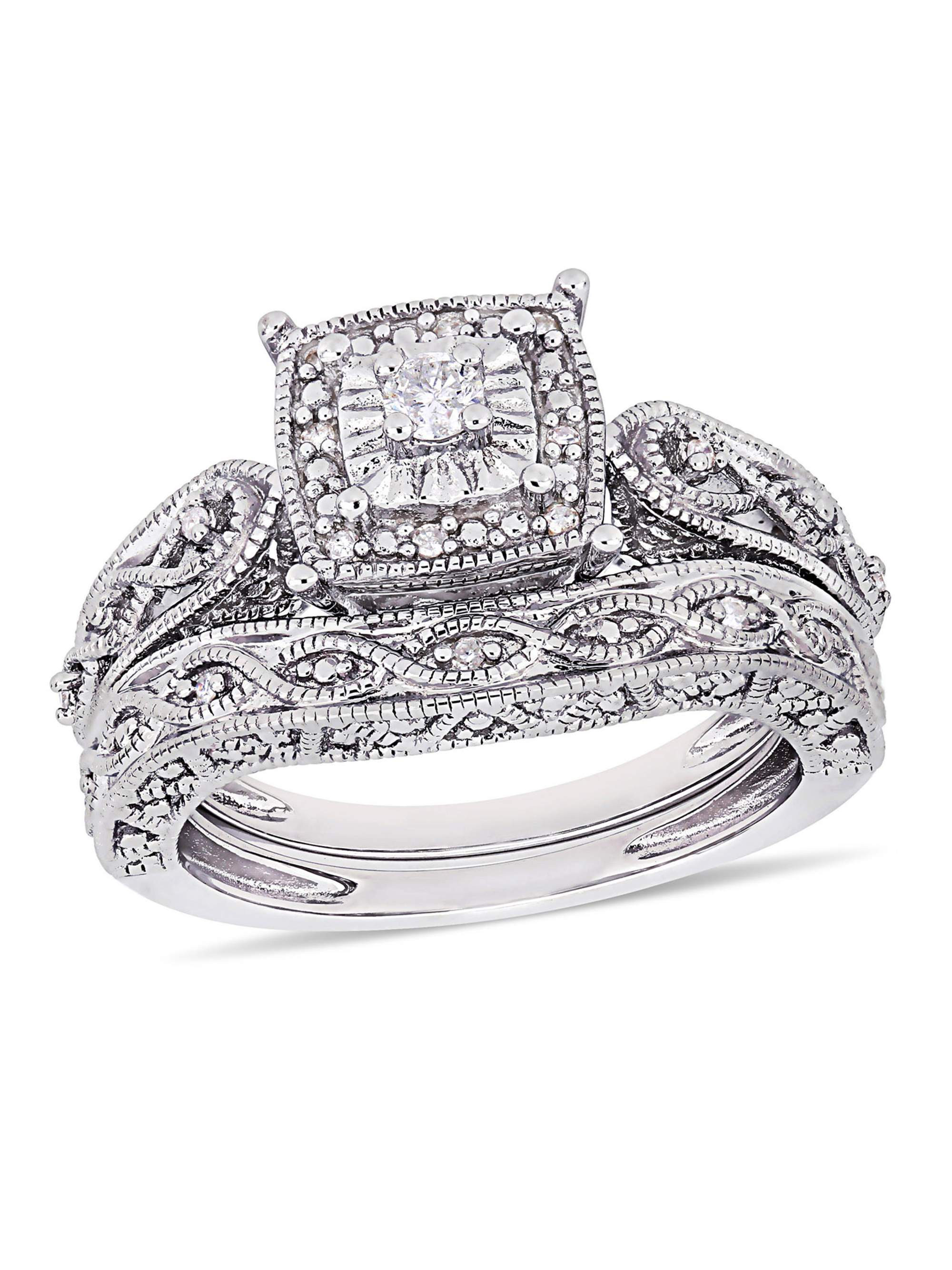 Miabella 1/5 Carat T.W. Diamond Sterling Silver Halo Bridal Set