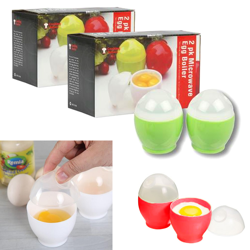 4 Pc Microwave Oven Egg Boiler Poacher Breakfast Instant Cooker Keeper Kitchen