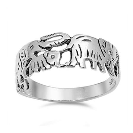 925 Sterling Silver Elephants Ring ()