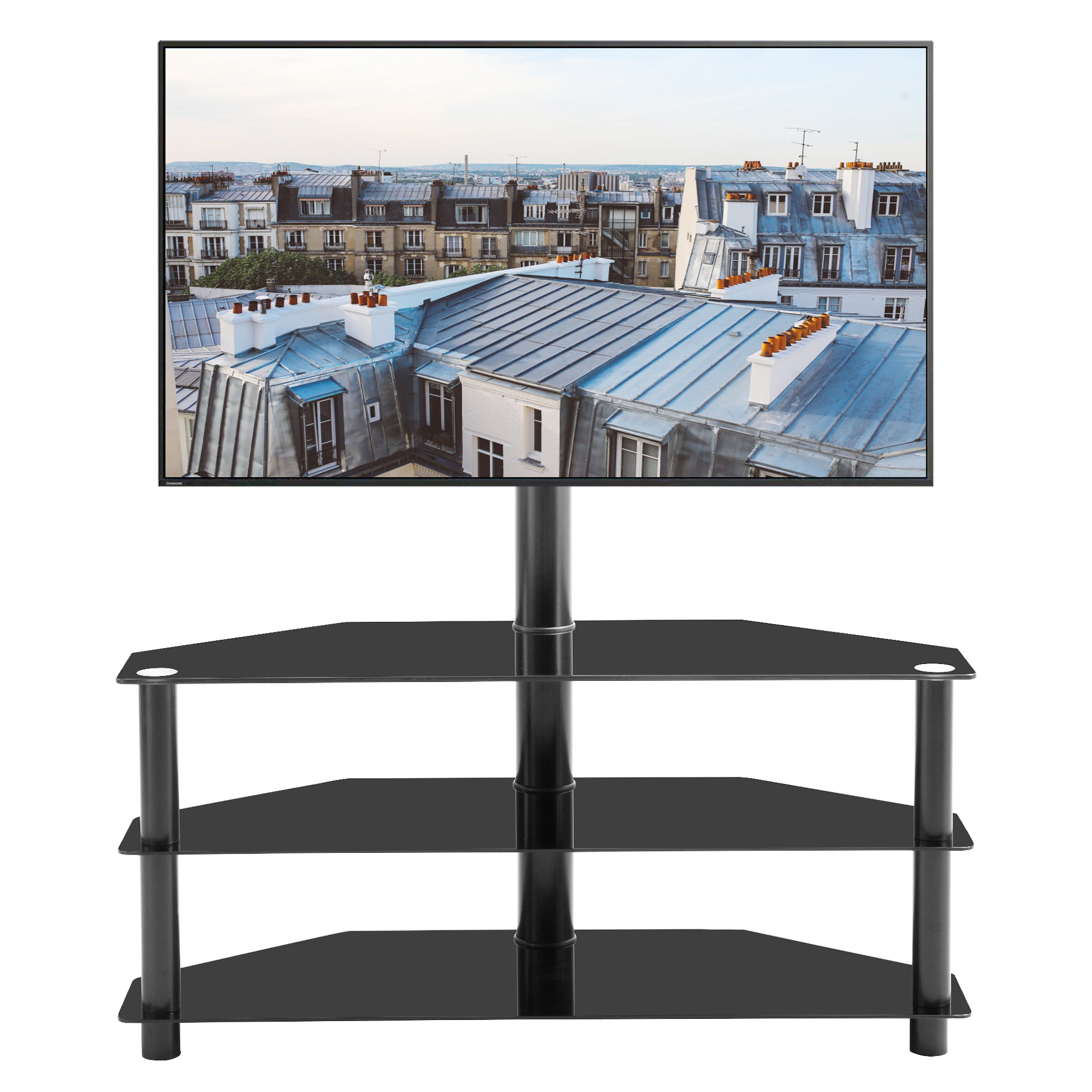 Picture of: Corner Tv Stand 3 Tier Glass Tv Stand For 32 65 Inch Lcd Led Tv Entertainment Center With Storage Shelves Swivel Mount Media Console Table Living Room Office Home Tv Cabinet W8638
