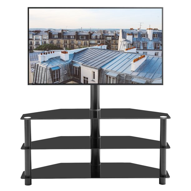 Corner Tv Stand 3 Tier Glass, Glass Tv Console