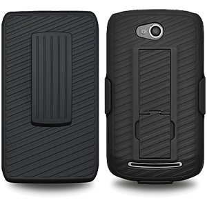 Premium Rubberized Shell Holster Combo Slim Shell Case + Swivel Belt Clip Holster for Coolpad Quattro 4G 5860E - Black