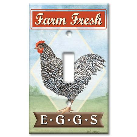 Single Gang Toggle OVERSIZE Wall Plate - Farm Fresh Eggs - Farm Plates