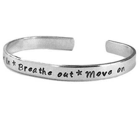 Breathe in Breath Out Move on | Stacking Bracelets | Adjustable Silver -
