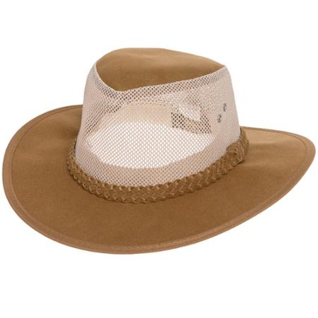 8072db25e88 DORFMAN PACIFIC NEW Men s Tan Mesh Soaker Cowboy Cap Hat w  Braided ...