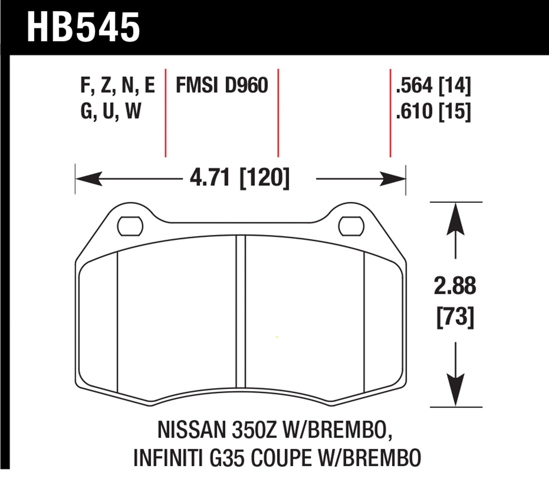 HAWK 03-07 350Z W// BREMBO HP STREET FRONT BRAKE PADS