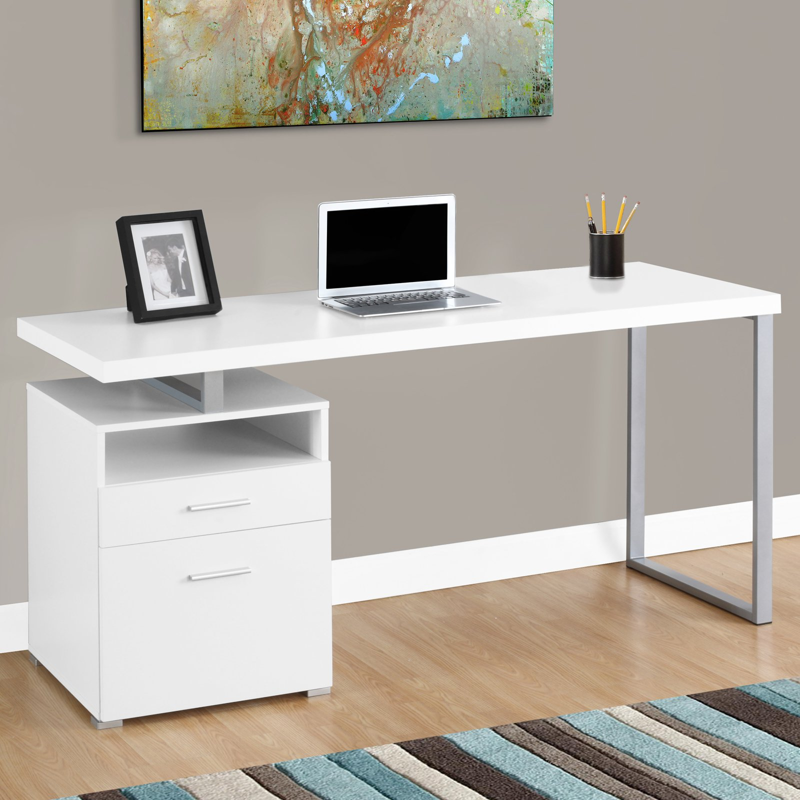 "Monarch Computer Desk 60""L / White / Silver Metal"