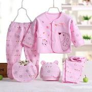 JEFFENLY 5PCS Newborn Baby Boys Girls Layette Set Cotton Sleepwear Tops Hat Pants Bib Suit Outfit Clothes Sets for 0-3M,Pink
