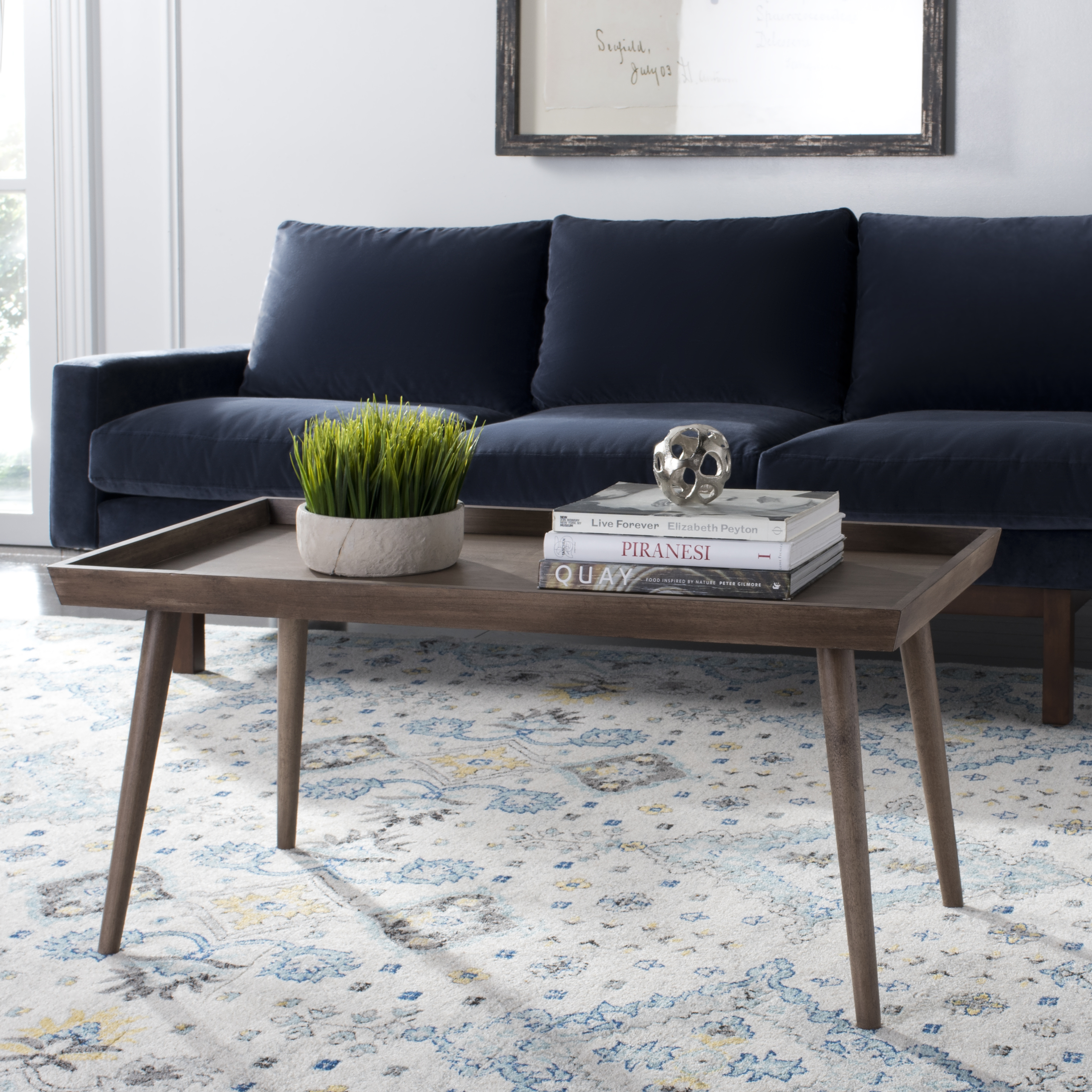 Safavieh Nonie Modern Solid Coffee Table With Tray Top
