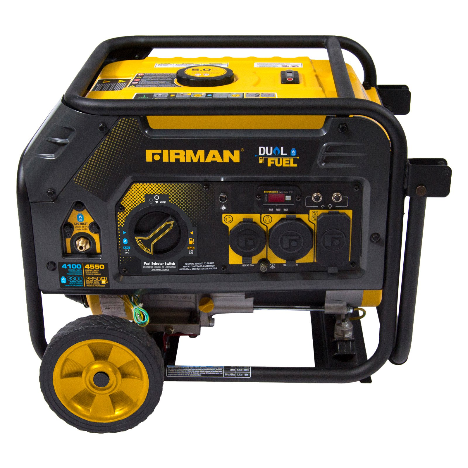 Firman Power Equipment Hybird Series H03652 3650/4550 Watt Dual Fuel Generator w/Recoil Start
