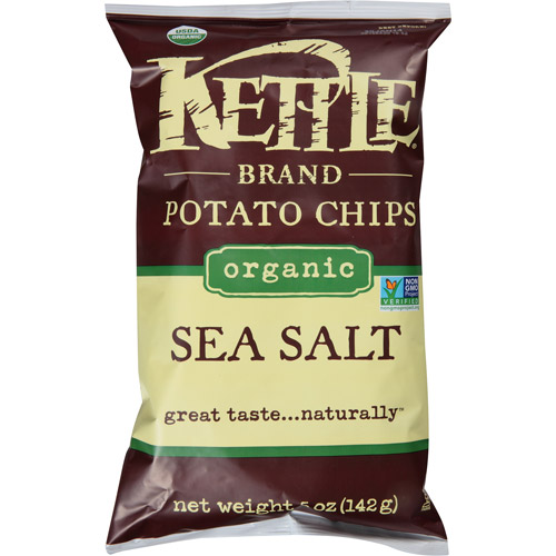 Kettle Brand Organic Sea Salt Potato Chips, 5 oz, (Pack of 15)
