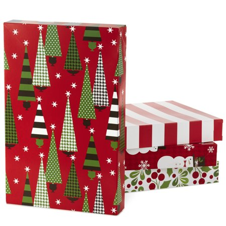 Hallmark Christmas Gift Box Assortment, Patterned Shirt Boxes with Lids for Wrapping Gifts (Pack of 12) ()