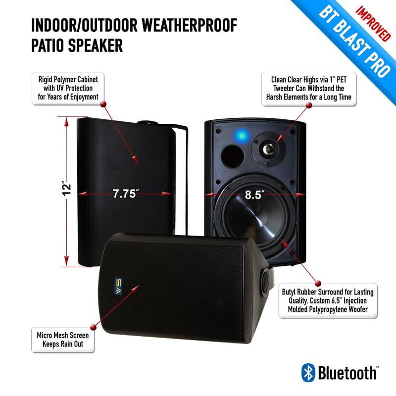 """Bluetooth 6.50"""" Indoor/Outdoor Weatherproof Patio Speakers ..."""