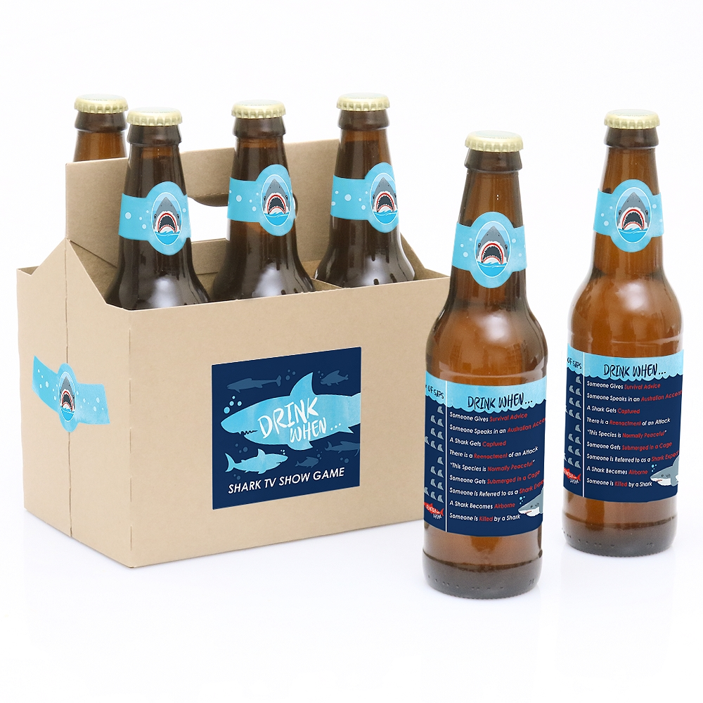 Shark Zone - Drink When TV Show Game - Shark Week Party Game - 6 Beer Bottle Labels and 1 Carrier