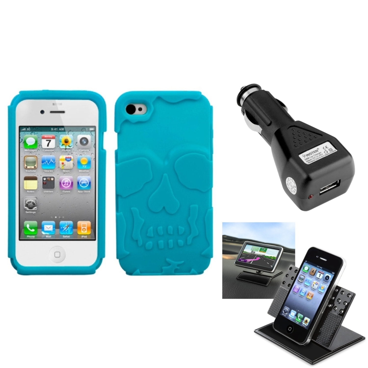 Insten Car Charger+Holder+Tropical Teal Green Skullcap Base Hybrid Case Cover For iPhone 4S/4