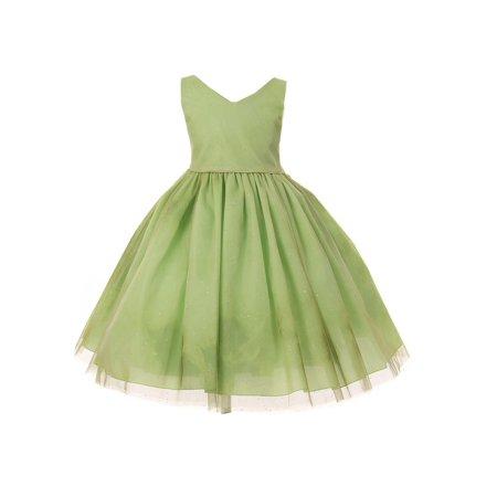 Little Girls Olive V-Shaped Neckline Shimmery Tulle Flower Girl Dress