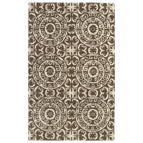 Kaleen Rugs Hand-tufted Runway Brown/ Ivory Suzani Wool Rug (3' x 5')
