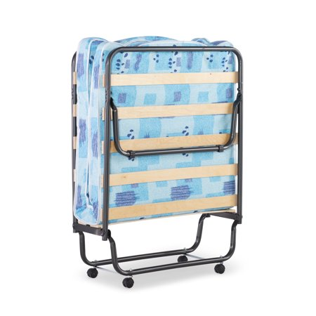 Linon Roma Folding Bed, Steel Frame and Mattress, Blue and