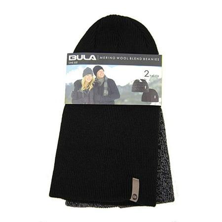 e3d0e2eae3563 Bula Merino Wool Blend Beanies Two Pack One Size Black Gray - NEW -  Walmart.com