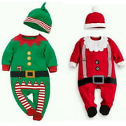 Baby Christmas Clothes Outfits Boy Girl Kids Romper Hat Cap Set Gift 0-24Months
