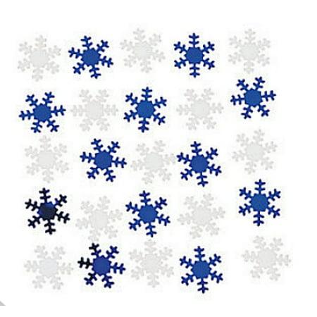 Snowflake Confetti - Blue and White Metallic