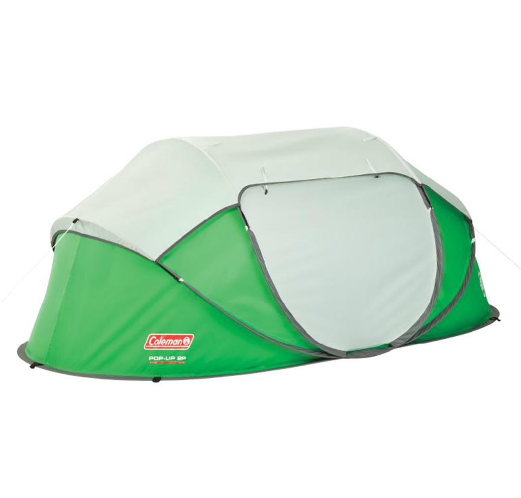 2 Person Camping Tent Coleman Green Taped Rainfly Easy 10 Second Instant Pop Up