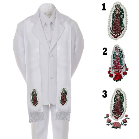 Boys Communion Set (Boy Kid Formal 1st Communion Christening Baptism White Tuxedo Suit Stole Sm-20 )
