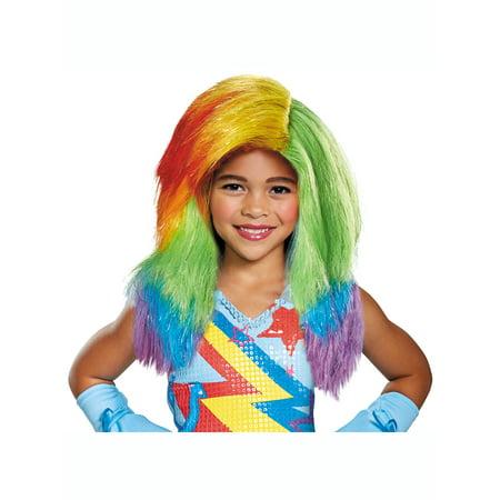 Rainbow Dash Movie Wig - Size One Size (Rainbow Wig Party City)