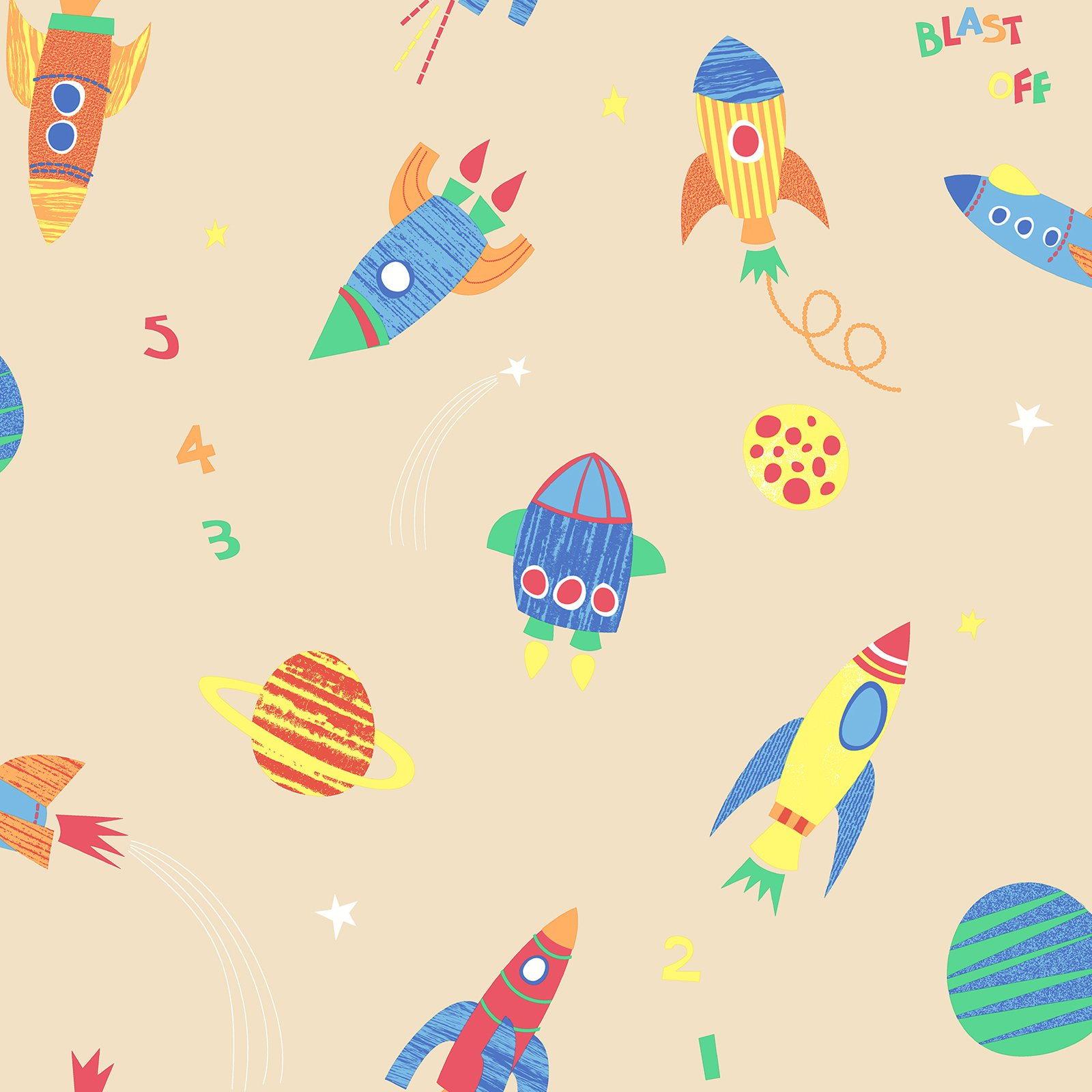 Brewster Blast Off Honey Outer Space Wallpaper