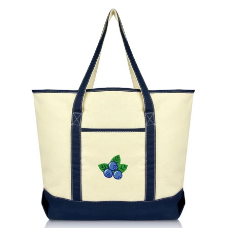 08737a5bf93 DALIX Blueberry Tote Bag Reusable Grocery Natural Canvas Fruits in Navy  Blue - Walmart.com