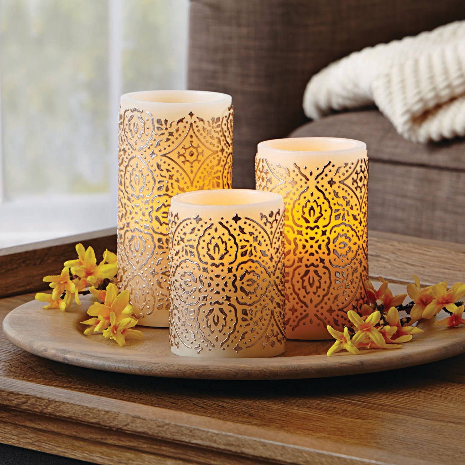 Better Homes and Gardens Malaysian Motif Flameless LED Pillar Candles, Set of 3
