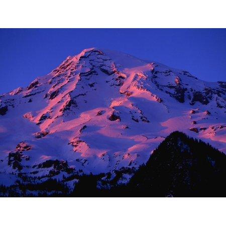 Sunset Alpenglow on Mount Rainier Print Wall Art By Paul Souders