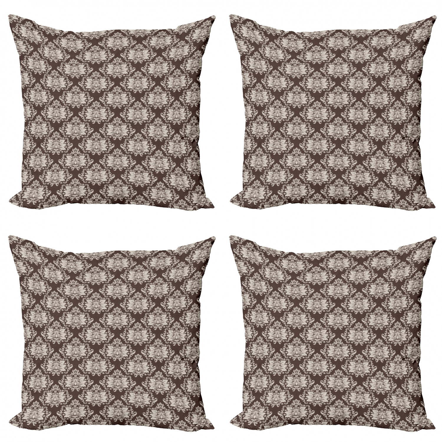 Damask Throw Pillow Cushion Case Pack Of 4 Victorian Floral Pattern With Blooming Foliage Leaves On Dark Toned Backdrop Modern Accent Double Sided Print 4 Sizes Brown And Beige By Ambesonne Walmart Com
