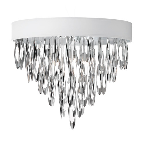 Radionic Hi Tech FM-ALL-164FH-PC-PEB-RHT Allegro 4 Light Flush Mount Chandelier With Pebble Shade
