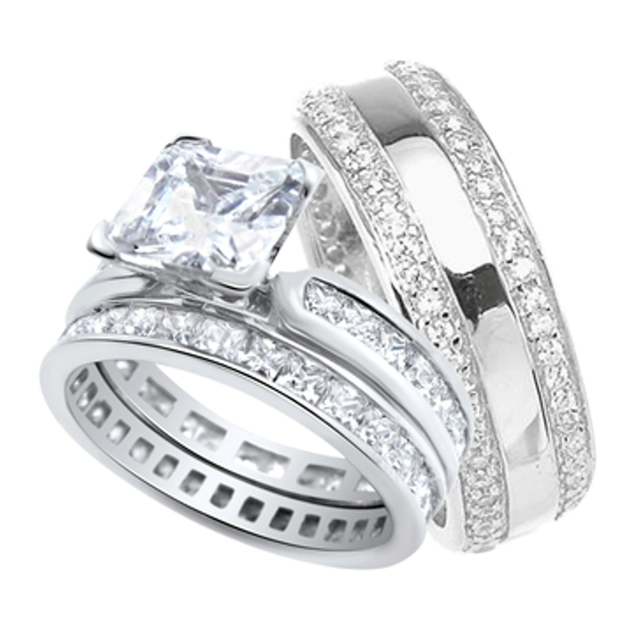 His and Hers Wedding Ring Set Matching Sterling Silver Anniversary Bands for Him and Her (8/9) (Choose Sizes)