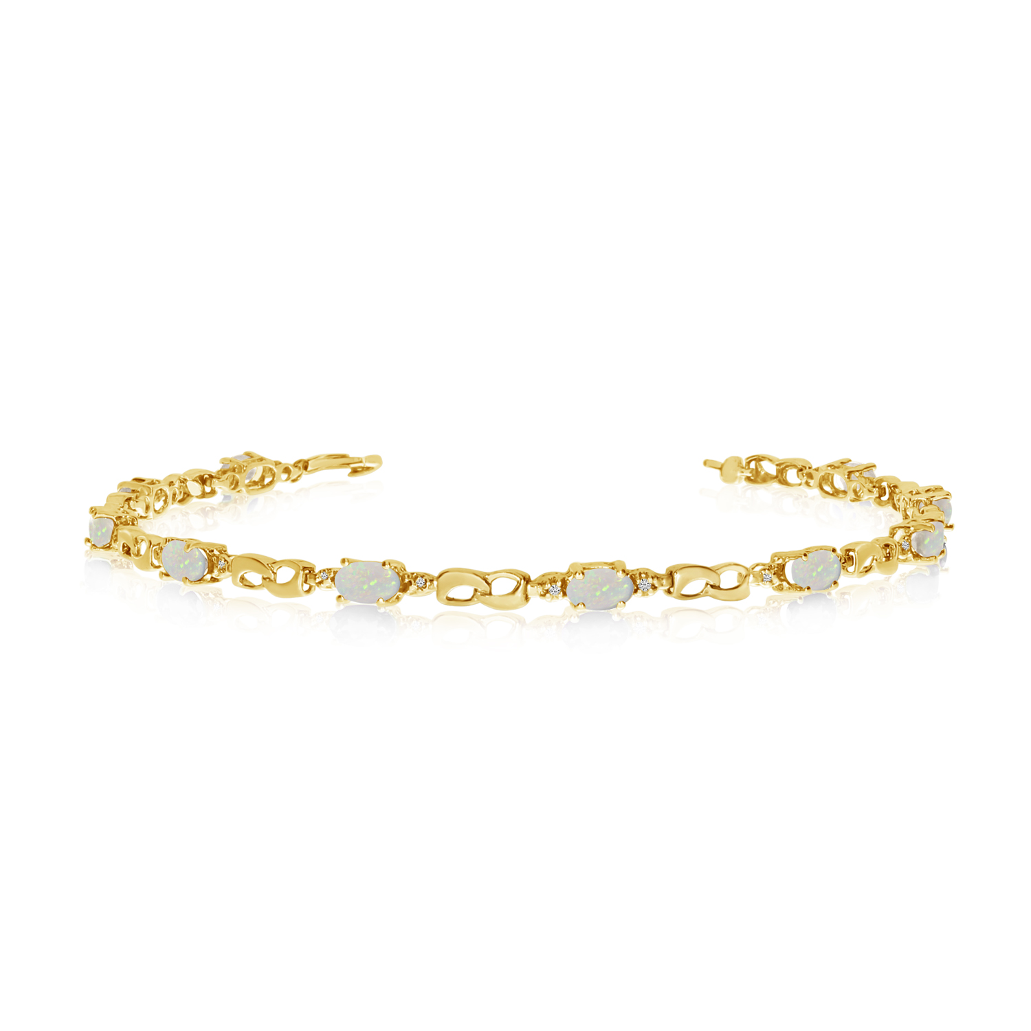 14K Yellow Gold Oval Opal and Diamond Link Bracelet by