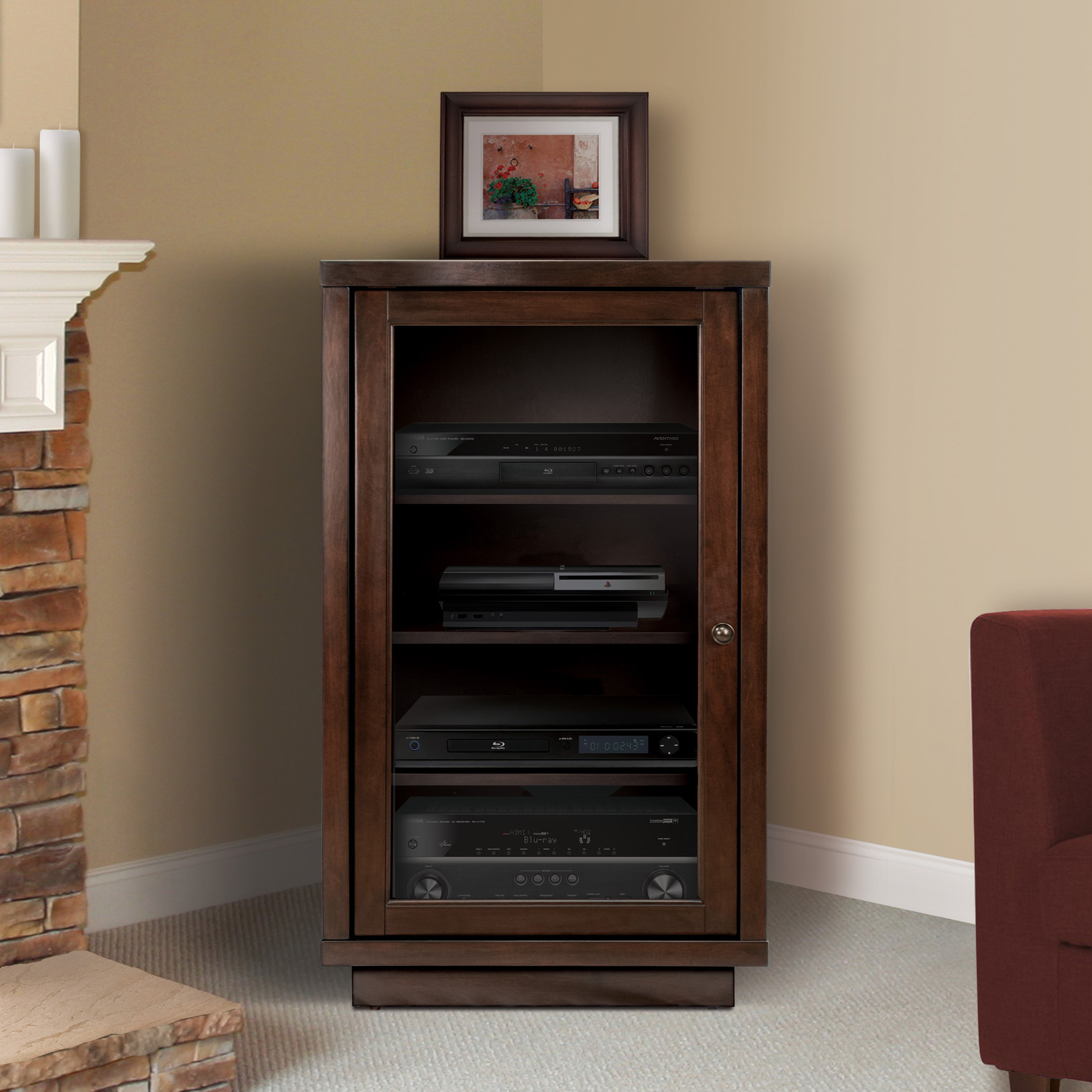 Audio Video Component Cabinet, Highland Birch