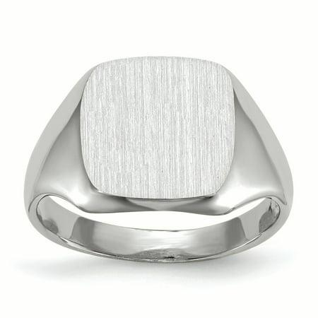 14K White Gold 10.9 MM Square Engravable Signet Ring, Size 5