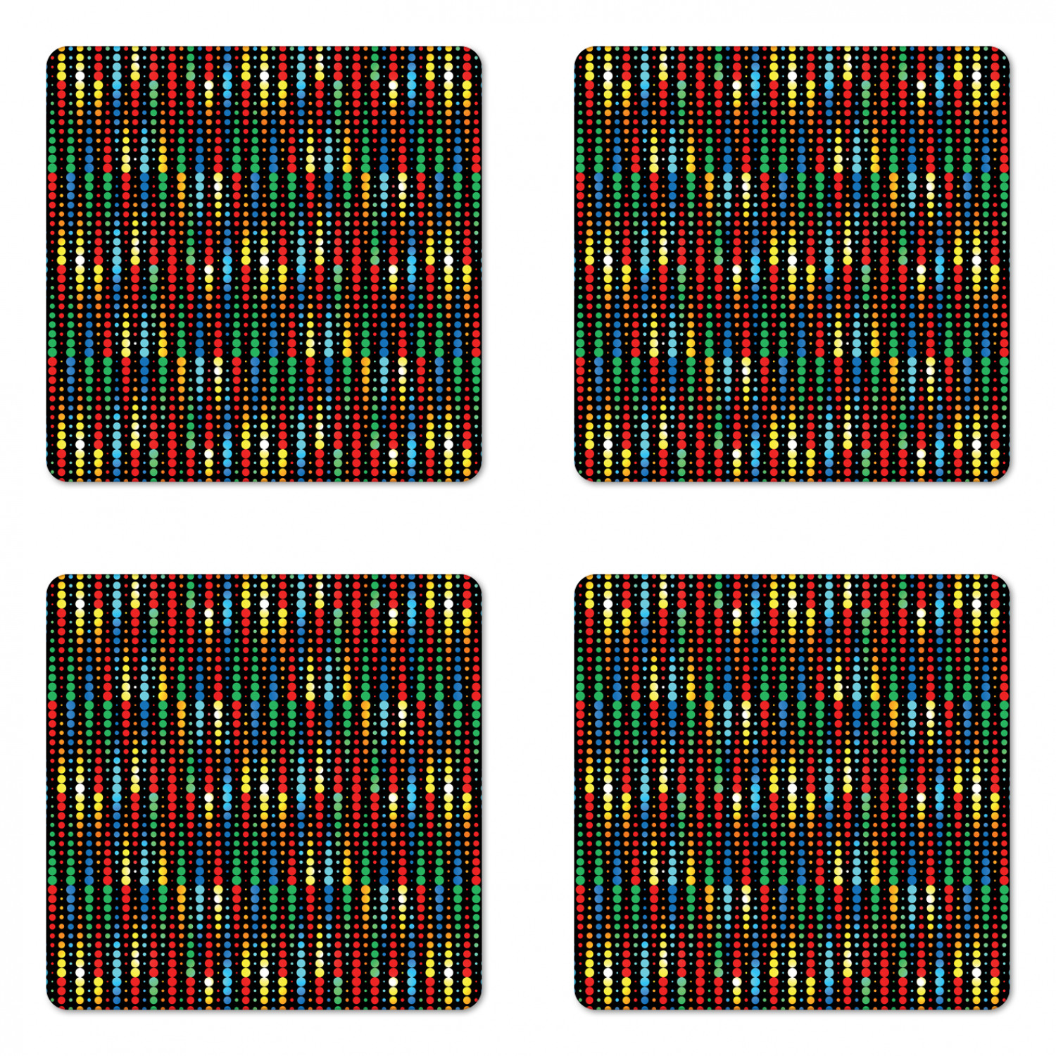Colorful Coaster Set Of 4 Geometric Polka Dots Composition With Halftone Pattern On Dark Toned Background Square Hardboard Gloss Coasters Standard Size Multicolor By Ambesonne Walmart Com Walmart Com
