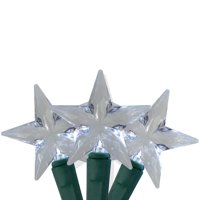 25 Pure White LED Stars Mini Christmas Lights - 8 ft Green Wire