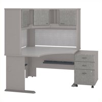 Series A 48W Corner Desk with Hutch and Mobile File Cabinet in Pewter