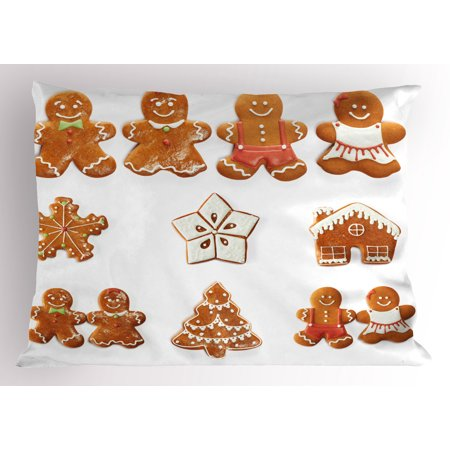 Gingerbread Man Pillow Sham Vivid Cute Christmas Gingerbread Biscuits Set Snowflake House Tree, Decorative Standard Queen Size Printed Pillowcase, 30 X 20 Inches, Pale Brown White, by Ambesonne