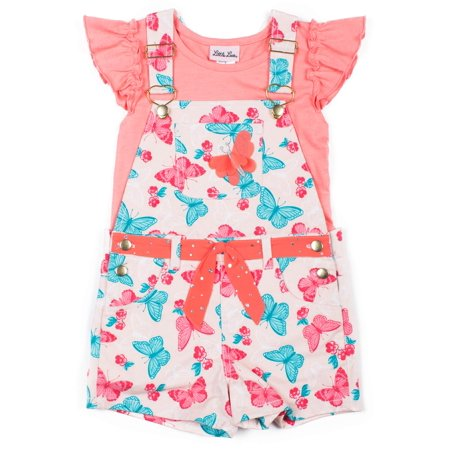 Butterfly Twill Shortall and Ruffle Tee, 2-Piece Outfit Set (Little - Butterfly Shirts For Girls