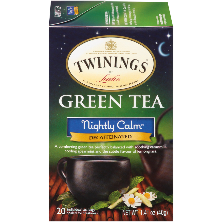 Twinings of London Nightly Calm Green Tea Bags, 20 Count, Pack of 6