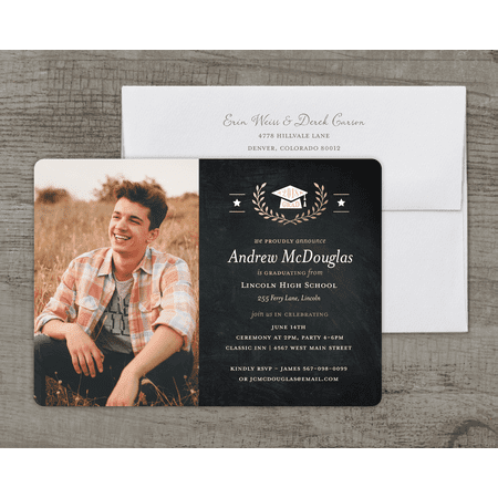 Golden Stars Deluxe Graduation Invitation](Black And Gold Invitations)