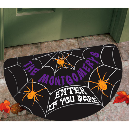 Personalized Half-Round Halloween Spiderweb Doormat