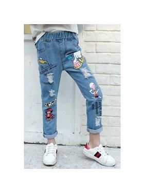 Kids Girls Shredded Cartoon Printed Stylish Jeans