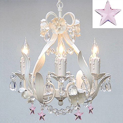"Gallery T40-622 15"" Tall 4 Light 1 Tier Wrought Iron Chandelier with Crystal Acc"