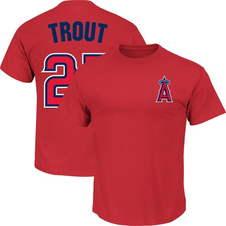 Men's Majestic Mike Trout Red Los Angeles Angels Name & Number (Mens Of Name)